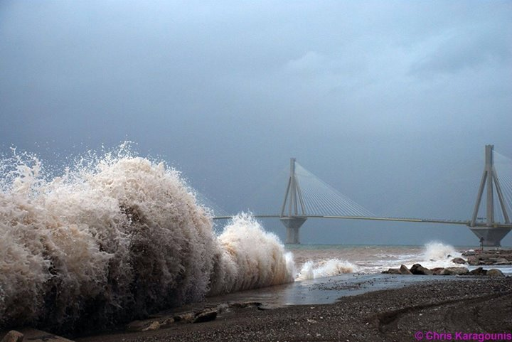 Patra Rio-Antirio bridge storm